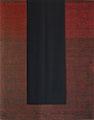 o.T., 2007, Acryl / Leinwand, Wollstoff mit mittig vertikal genähten Biesen, 150 x 120 cm