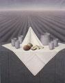 Gedeckter Tisch auf einer Mauer, 1987, Acryl / Leinwand, 100 x 80 cm