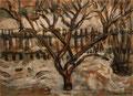 Winterlicher Vorgarten mit Baum ∙ 1997 ∙ Farbstift, Pastell ∙ 17,5 x 24,2 cm
