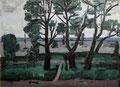 Alte Bäume am Salzhaff ∙ 1985 ∙ Öl auf Hartfaser ∙ 69,5 x 80 cm