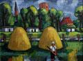 Landschaft mit Heuschobern - Löcknitz ∙ 1992 ∙ Öl auf Hartfaser ∙ 50 x 68 cm