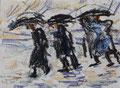 Strandgänger bei Regen ∙ 2011 ∙ Farbstift, Kreide ∙ 12,5 x 17 cm
