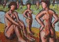 Badende am Teich ∙ 1994 ∙ Öl auf Sperrholz ∙ 25 x 34,5 cm