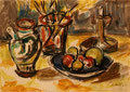 Stilleben mit Obstschale ∙ 2001 ∙ Bleistift, Aquarell ∙ 14,3 x 20 cm