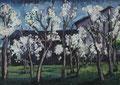 Blühende Kirschbäume vor schwarzem Schuppen ∙ 1997 ∙ Öl auf Hartfaser ∙ 45 x 63 cm