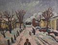 Winterbild mit Molli - Kühlungsborn ∙ 1984 ∙ Öl auf Hartfaser ∙ 31 x 40 cm