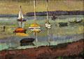 Salzhaff mit Booten ∙ 1983 ∙ Öl auf Malpappe ∙ 30 x 42 cm