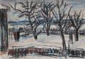 Garten bei Schnee ∙ 2005 ∙ Kreide, Aquarell ∙ 29,7 x 41,8 cm