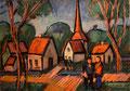 Dorfstraße mit Kirchturm - Mecklenburg ∙ Gouache, Pastell ∙ 1975 ∙ 21 x 29,5 cm