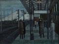 Bahnhof am Morgen - Bützow ∙ 1965 ∙ Öl auf Hartfaser ∙ 36 x 47 cm