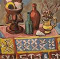 Stilleben auf indischer Decke ∙ 1992 ∙ Öl auf Hartfaser ∙ 38,5 x 39 cm