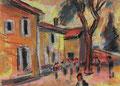 Boulespieler vor einem Bauernhaus ∙ 2010 ∙  Pastell ∙ 21,3 x 30 cm