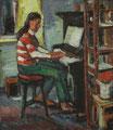 Mädchen Klavier spielend - Kathrin ∙ 1984 ∙ Öl auf Hartfaser ∙ 47,5 x 41 cm