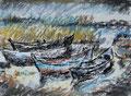 Kleiner Hafen an der Peene ∙ 2009 ∙ Pastell ∙ 27,5 x 37,5 cm
