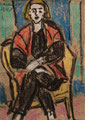 Frau mit roter Weste ∙ 1969 ∙ Pastell ∙ 10,5 x 7,5 cm