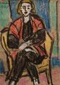 Frau mit roter Weste ∙ 1969 ∙ Pastell ∙ 10,5 x 7,5 cm