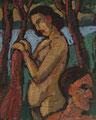 Badendes Paar am See ∙ 1989 ∙ Öl auf Hartfaser ∙ 24,7 x 20 cm