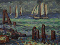 Segler bei Warnemünde ∙ 2005 ∙ Öl auf Hartfaser ∙ 23,7 x 31,8 cm