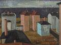 Häuser vor Ostsee - Usedom ∙1976 ∙ Öl auf Faserplatte ∙ 30 x 40 cm