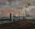 Hafeneinfahrt Gdingen ∙ 1975 ∙ Öl auf Hartfaser ∙ 50 x 60 cm