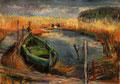 Kleiner Hafen mit Boot - Bauerberg ∙ 1995 ∙ Farbstift, Pastell ∙ 15 x 21,5 cm
