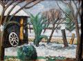 Bastorfer Garten bei Schnee ∙ 2000 ∙ Öl auf Holz ∙ 30 x 40 cm