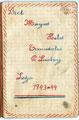 Een pagina uit het schriftje van Margriet Beets-1943-1944