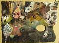 Maria, Im Duett I; 29,5x21,0; Öl auf Palette