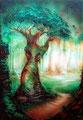 Tree-Art 6; 2012; 42 x 30 cm; Acryl, Airbrush auf Papier; in Privatbesitz