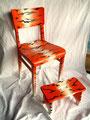 "Möbel-Kombination ""Tiger Throne""; Handbemalter Holzstuhl mit Fußbank; Unikat; Acrylfarbe auf Holz"
