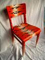 "Stuhl ""Tiger Alone""; Handbemalter Holzstuhl; Unikat; Acrylfarbe auf Holz; Preis: 650 €"