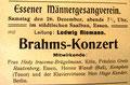 Brahms-Konzert, 26. Dezember 1908, Essen (Rheinische Musik- und Theaterzeitung)