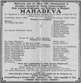 Mahadeva, Düsseldorf, 23. März 1910 (Universitätsbibliothek Düsseldorf)