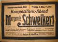 Margarete Schweikert Liederabend, Karlsruhe, ca. Anfang der 20er Jahre (Badische Landesbibliothek Karlsruhe, Nachlass Schweikert)