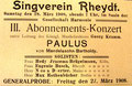 Paulus, 28. März 1908, Rheydt (Rheinische Musik- und Theaterzeitung)