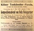 2. Mai 1907 Köln (Rheinische Musik- und Theaterzeitung)