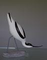 avocette élégante sculpture d'oiseau en bois polychrome