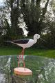 Echasse blanche sculpture d'oiseau en bois polychrome