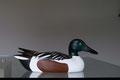 blette de souchet, sculpture d'oiseau en bois polychrome
