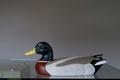 blette de colvert, sculpture d'oiseau en bois polychrome
