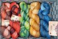 Ferner Wolle Lace handgefärbte Farbverläufe, Lauflänge 600m/100g - 1) Lace 600, 100% Schurwolle (Merino superwash), Schonwaschgang bis 30°, 2) Seide, 70% Schurwolle (Merino) und 30% Maulbeerseide, Handwäsche empfohlen