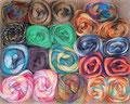 Lang Yarns  diverse Multicolorgarne von höchster Qualität, darunter Jawoll Magic und Mille Colori Socks & Lace (400m/100g), sowie Jawoll Magic 6-fach (420m/150g), alle 75% Schurwolle (superwash) und 25% Polyamid, Schonwaschgang bis 40°