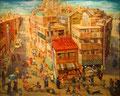 O町駅前商店街_2009_F100 oil on canvas