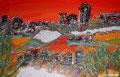 Landschaft orange verkauft 30 x 20 aufHolz