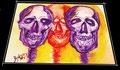 Schädel skull head - Aquarell 30 x 40 cm