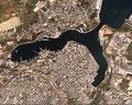 Foto aerea del porto interno di Brindisi