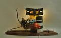 Kat en vis (staande of wand-object) 70x30x40cm