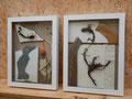 Twee collages achter glas 30x40x4,5cm 350,-