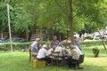 backgammon-spiel im park