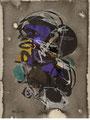 Kijno- Acrylique, encres, pastels sur papier 32X24 cm - galerie d'art Biot-côte d'azur